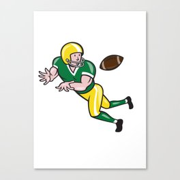 American Football Wide Receiver Catch Ball Cartoon Canvas Print