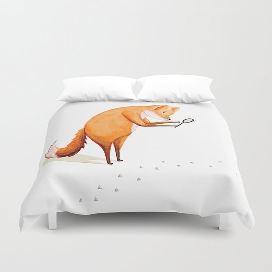 Foxy Detective Duvet Cover