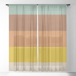 Classic Muted Retro Stripes Sheer Curtain