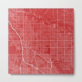 Tucson Map, USA - Red Metal Print