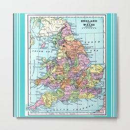 Vintage Map  of England and Wales Metal Print