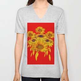 Decorative Red Sunflowers Art Abstract Unisex V-Neck