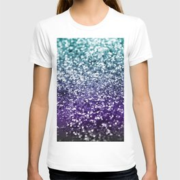 Aqua Purple Ombre Glitter #2 #decor #art #society6 T-shirt