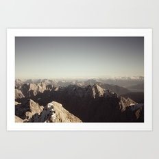 Zugspitze Mountain Germany Black and White Photography Art Print