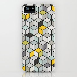 Colorful Concrete Cubes - Yellow, Blue, Grey iPhone Case