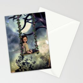 Cute little fairy with kitten on a swing Stationery Cards
