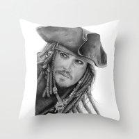 jack sparrow Throw Pillows featuring Captain Jack Sparrow by Celeste Roddom