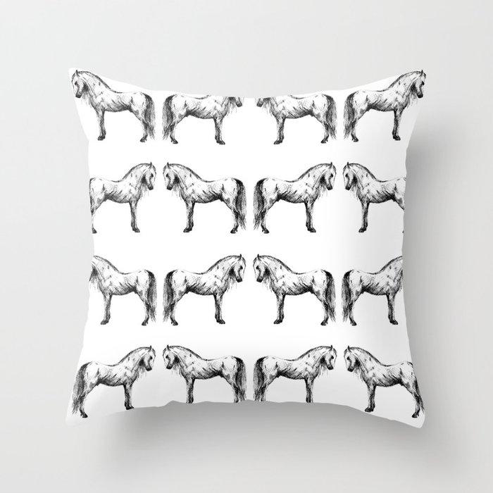 Sketch horse Throw Pillow