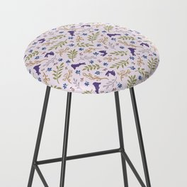 Ditsy Bunnies Amok - Purple Bunnies, Pink Background Bar Stool