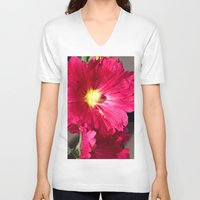 peony V-neck T-shirts featuring Peony by Alex Sallade