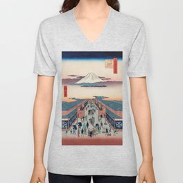 Mount Fuji above Ancient Street Ukiyo-e Japanese Art Unisex V-Neck