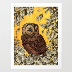 Tawny Owl Yellow Art Print