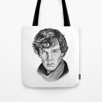 sherlock Tote Bags featuring Sherlock by 13 Styx