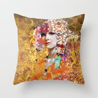 rose gold Throw Pillows featuring Rose. Gold by Steve W Schwartz Art