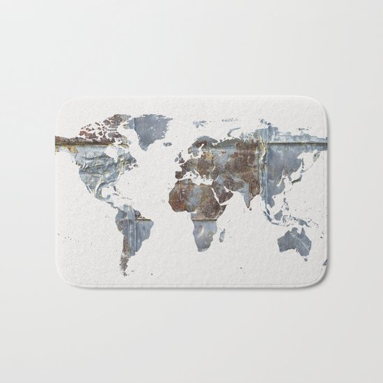 World Map(metal) Bath Mat