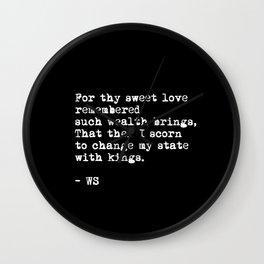 Sonnet 29 - Love Sonnet on black Wall Clock