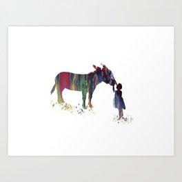 donkey and child art Art Print
