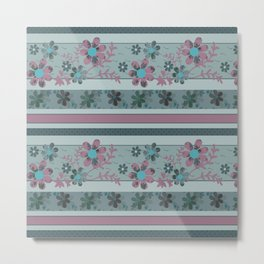 Retro . Turquoise and purple floral pattern . Metal Print