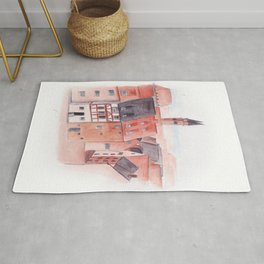 Small town watercolor illustration Rug