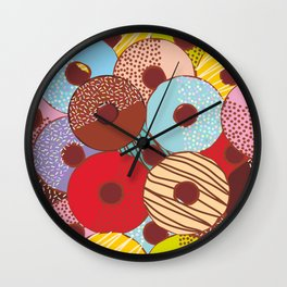Sweet donuts set with icing and sprinkls isolated, pastel colors on chocolate Wall Clock