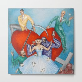 Death with Heart and Lovers surrealist portrait painting by I. Dardel Metal Print