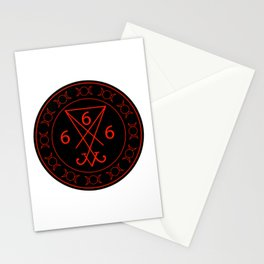 666- the number of the beast with the sigil of Lucifer symbol Stationery Cards