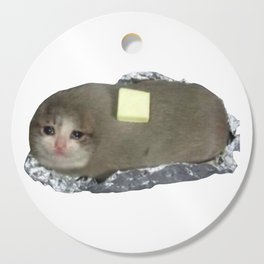 Crying Cat Baked Potato With Butter Cutting Board