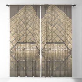louvre glass pyramid paris pyramid Sheer Curtain