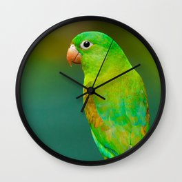 Striking Green Tropical Parrot Wall Clock