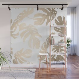 Simply Tropical Palm Leaves in White Gold Sands Wall Mural
