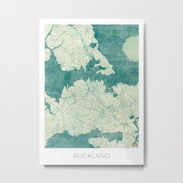 Auckland Map Blue Vintage Metal Print