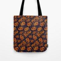korean Tote Bags featuring Korean Chrysanthemum - Orange by 1004kim
