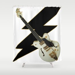 Black and White Guitar Shower Curtain