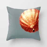 baloon Throw Pillows featuring Strawberry hot air baloon by Wood-n-Images