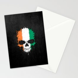 Flag of Ivory Coast on a Chaotic Splatter Skull Stationery Cards