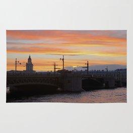 Sunset over the Neva River Rug