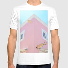 Pink MEDIUM Mens Fitted Tee White