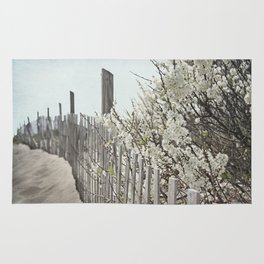 Vintage Inspired Sand Fence and White Flowers at the Beach with Blue Sky Rug