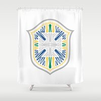 brazil Shower Curtains featuring Brazil Crest by George Williams