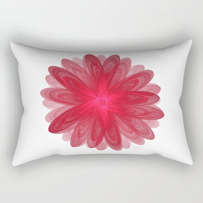 Red Flower Bloom Fractal Rectangular Pillow