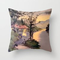 "asian Throw Pillows featuring "" ASIAN DREAM "" by James Dunlap"