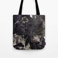 goth Tote Bags featuring goth peony by inourgardentoo