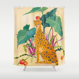 Cheetah and Apples Shower Curtain