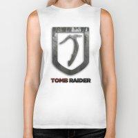 tomb raider Biker Tanks featuring Tomb Raider by Liquidsugar