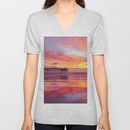 Pink, Blue & Orange Sunset with Low Tide Ocean Water Reflection Unisex V-Neck