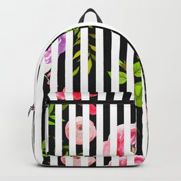 Pink lavender green watercolor floral stripes Backpack