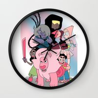 steven universe Wall Clocks featuring Steven Universe by Laura Pulido