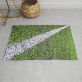 Sideline football field, Sideline chalk mark artificial grass soccer field Rug