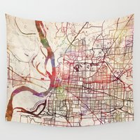 memphis Wall Tapestries featuring Memphis by MapMapMaps.Watercolors