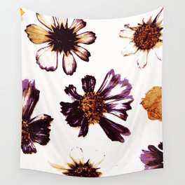Pressed Autumn Flowers Wall Tapestry